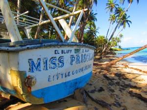 Beached Miss Priscilla boat