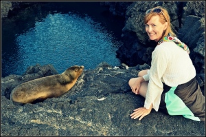 Author with baby sea lion