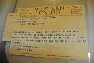 The telegram that the Hoback family received with news of Raymond's death.