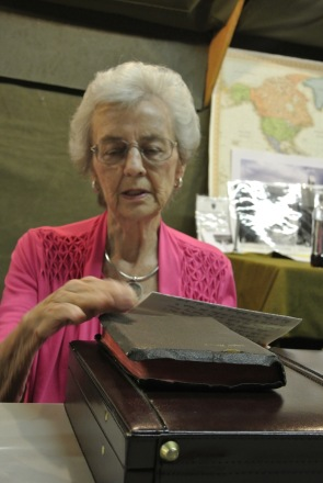 Lucille Hoback Boggess with Raymond's bible.